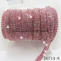 3 rows rose rhinestone cup chain,dense gemstone chain,1 yard/lot,wholesale AAA hot pink chain garment accessories,#451452