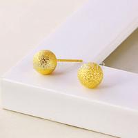 Ball Earrings Plain Yellow Gold Filled GF 24k Fashion Polish Push Back Stud 8MM Women's Free shipping