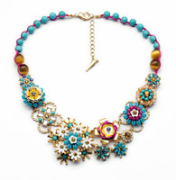 High quality 2014 fashion colorful flower chain necklace for women
