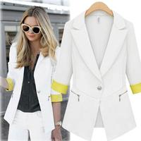 D16 New Women Autumn plus size M-XL Chiffon Blends stylish comfortable jacket coat Blazers Female Slim Small Suit outwear jacket