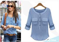winter autumn women tops  T shirt Womens Long sleeve Tops Plus Size Women T Shirt 2014 White & Black Free Shipping