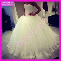 2014 Elegant Custom Made Floor Length Tulle Lace Ball Gown Bridal Wedding Dresses Plus Size QB-210