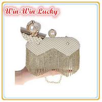 2014 New Retro Fashion Handmade Beaded Women Party Evening Bag Luxury Pearl Tassel Diamond Wedding Handbag Day Clutches 3 Colors