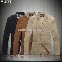 2014 Autumn Winter Men Cotton v Neck Blazer Men Casual Turn Down Collar 2 Buttons Suit Homens Blazer Plus Size M-5XL