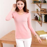 Korean version of Women Spring Fashion Plaid Brushed elastic V-neck long-sleeved shirt Slim t-shirt women long sleeves shirt