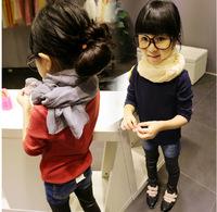 Free shipping Retail 2014 Autumn New children bottoming shirt all-match long sleeved T-shirt on girls