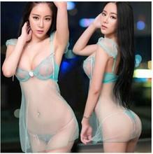 Free shipping Strip lace transparent gauze condole belt nightgown Ms Sexy pajamas temptation Ultra thin transparent