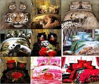 dropship polyester 3D flower tiger lion  leopard  Monroe rose bedding bed sheet set bedclothes duvet cover set bedding set
