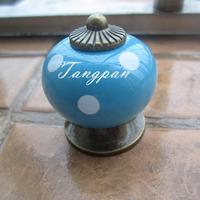 Free Shipping  10pcs30mm Ceramic Spots Dargon Ball Door  Handle Pull Knobs Cabinet Cupboard Drawer Locker Vintage Retro Blue