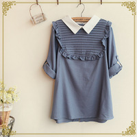Retail 2014 New Japanese Mori Girl Autumn Women's Pure Colour Cotton Turn-down Collar Shirts,Female Nice Blouses,Free Shipping