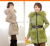 2014 winter new arrival . Down parkas women Fashion medium-long hooded jacket  Winter down coat FACTORY SALE D17