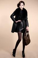 Free Shipping 2014 Winter  Woman Sheepskin Thicken Warm Jacket Women Fox Fur Collar Coat