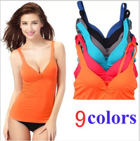 brand women sexy mold cup strap with a chest pad vest Camisoles Tank  tops Bottoming underwear