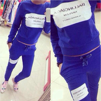 Vintage 2014 New Women's Korean Hooded + Long Pant Suit 1 Set=2 Pieces Letter Sport Clothes Tracksuit Sportwear Women