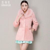 Women's Genuine Rabbit Fur Coat with Fox Fur Collar