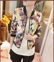 Autumn jacket trend all-match zipper stand collar long-sleeve short jacket female