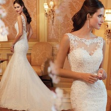 Sexy slit neckline lace racerback fish tail short trailing the bride wedding dress formal dress new arrival 21