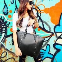 Cat bag fashion vintage punk rivet big bag women's m88-008 shoulder bag handbag