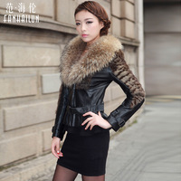 Women's Genuine Sheepskin Leather Jacket with Raccoon Fur Collar