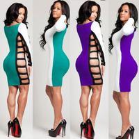 New Women  Sexy  Cut Out Two Side Long  Sleeve  Dress Bandage Midi Dress Night Club Pencil Dress 4012