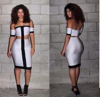 New Women Off The Shoulder Panel  Dress Bandage Midi Dress Night Club Pencil Dress 4030
