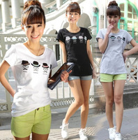 2014 women new short-sleeved summer t-shirt Korean cotton round neck loose plus size female casual print t shirt