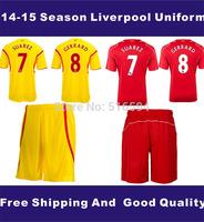 20 kits/lot, 100% fabric 14-15 season fans version football jersey+shorts,uniform,free shipping,Customed  name and number