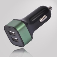 4.2A black surface color green ring color square shape dual usb car charger