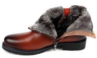 Handmade 100% Cowhide Genuine leather Boots Rabbit fur plus size men winter shoes full grain leather Super warm men Top Shoes