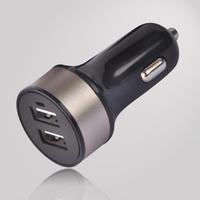 3.4A black surface color golden ring color square shape dual usb car charger