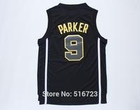 Free shipping #9 Tony Parker Men's Black 2014 champion new fabric Embroidered logo Mens Stitched Basketball Jerseys size S- XXXL