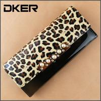 Free shipping 2014 new Women wallet Long PU Leather Leopard pattern Hasp Wallets