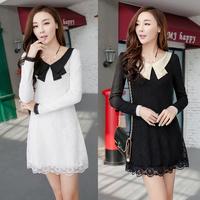 2014 autumn dress women winter casual long sleeve sweet lace dress black plus size XXL XXXL sexy white dresses