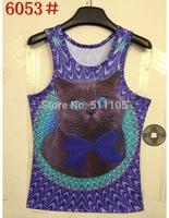 2014 Europe style 3D lovely summer  slim sleeveless shirt tanks tops lovely cat style
