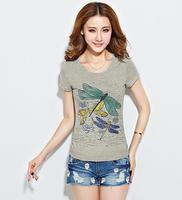 2014 new style fashion Women's T-shirts slim fit cotton Printing Short sleeve T-shirt O-Neck t shirt