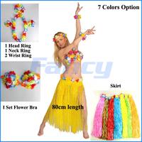 2014 Fashion Halloween Party Costumes Dance Wears 80cm Hawaiian Hula Grass Skirt Flower Dress Beach Dance Clothes 6 piece set