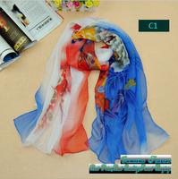 Oumeina GY accessory scarf:Silky chiffon printed fresh flower tudung bawal kain  pattern long scarf/wrap/Muslim hijab GYXQ016