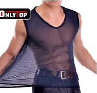 transparent vest for men color T shirt vest men's thin silk  vest underwear