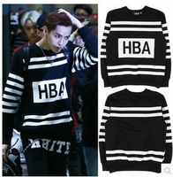 2014 new hip hop t shirt 100% cotton big block design tee shirt fashion tshirt Hood By Air HBA long sleeve t-shirt exo bts