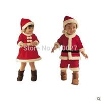 baby boy girl Christmas clothes Santa 2 piece snowman suit Red White beanie + romper/dress kids festival clothing sets 3pcs/lot