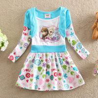 2014 Fall New snow Romance Frozen foreign trade girls fake two long-sleeved princess dress D0521