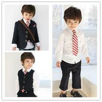 2014 new children's Spring Boys shirt + vest + trousers + tie=4pcs/set free shipping