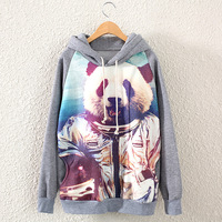 2014 new autumn and winter in Europe and America women's o-neck Panda printing thicker fleece women hooded sweatshirt