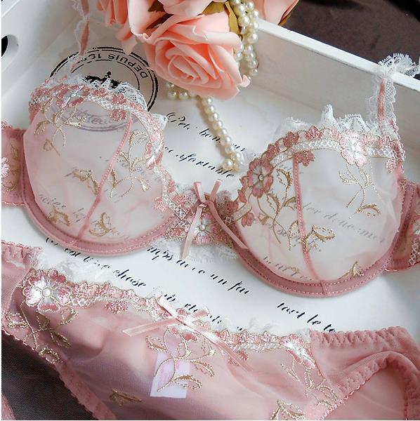 NEW Women Embroidery Transparent Bra Plus Size Lace Bra Brief Sets Sexy Lingerie Bikini Intimates Set 32ABCD/42CD 9126#(China (Mainland))
