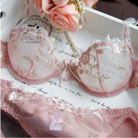 NEW Women Embroidery Transparent Bra Plus Size Lace Bra Brief Sets Sexy Lingerie Bikini Intimates Set 32ABCD/42CD 9126#