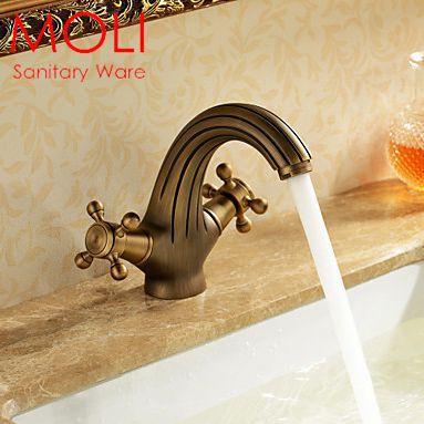 Bathroom faucet antique bronze brass basin sink mixer tap double handle single hole(China (Mainland))