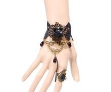 Free Shipping Gothic Steampunk Black Rose Flower Bracelets Vampire Lace Vampire Bracelet Z6T10 (minimal Mixed styles $5)