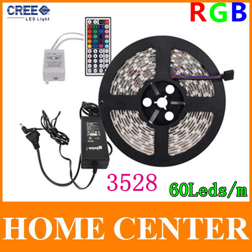 5M 3528 RGB 300Leds Led Strips light and 44Key IR Controller and 12V 3A Power supply 60Leds/m EU US AU UK(China (Mainland))
