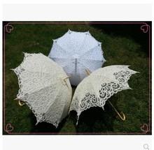 trasporto libero 2014 modo caldo di vendita wedding ombrelli da sposa white lace ombrelloni(China (Mainland))