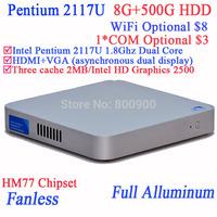 Desktop PC Mini Computer Intel Pentium 2117U Dual Core with Fanless Full Aluminum Ultra Thin Chassis 8G RAM 500G HDD